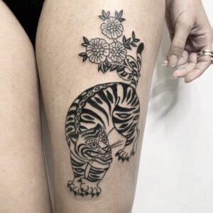 tiger flowers tattoo