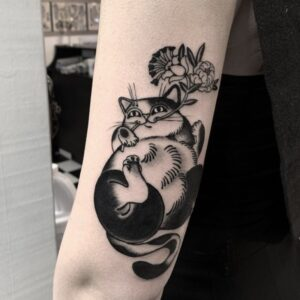 cat flowers tattoo